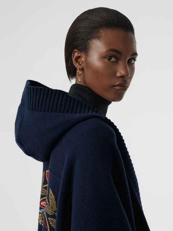 Crest Wool Blend Jacquard Hooded Cape in Navy - Women | Burberry - cell image 1