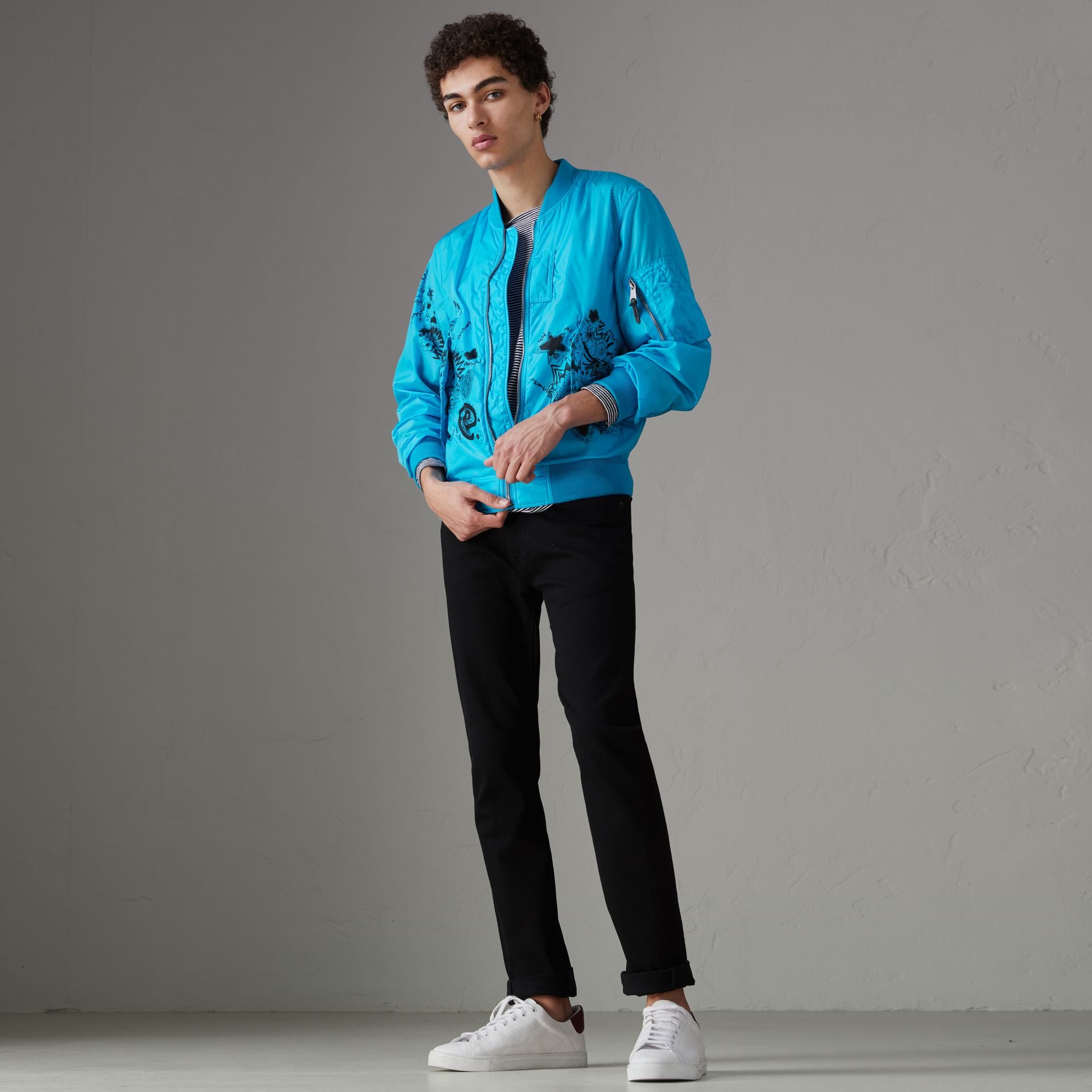 Doodle Print Bomber Jacket in Bright Blue - Men | Burberry Singapore - gallery image 0