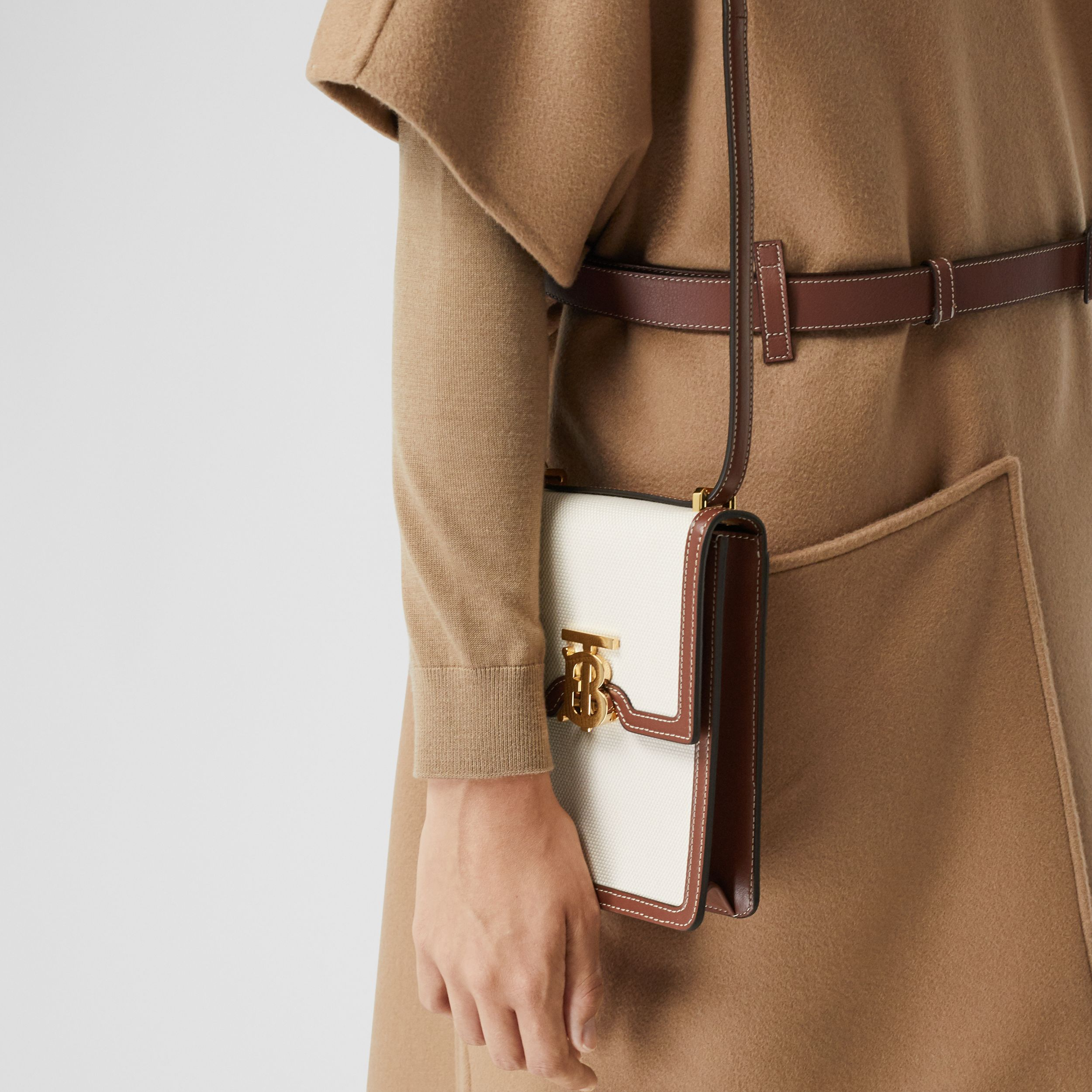 Cotton Canvas and Leather Robin Bag in White/tan - Women | Burberry Australia - 3