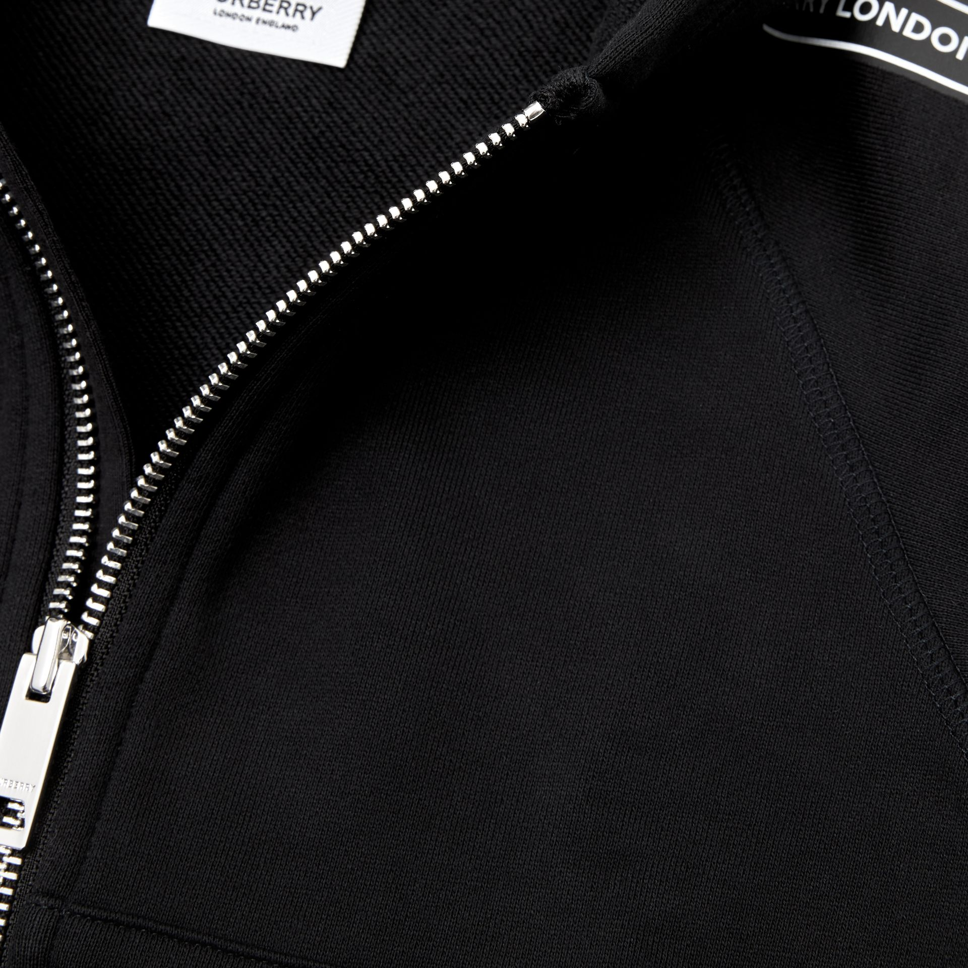 Logo Tape Cotton Hooded Top in Black - Children | Burberry - gallery image 1