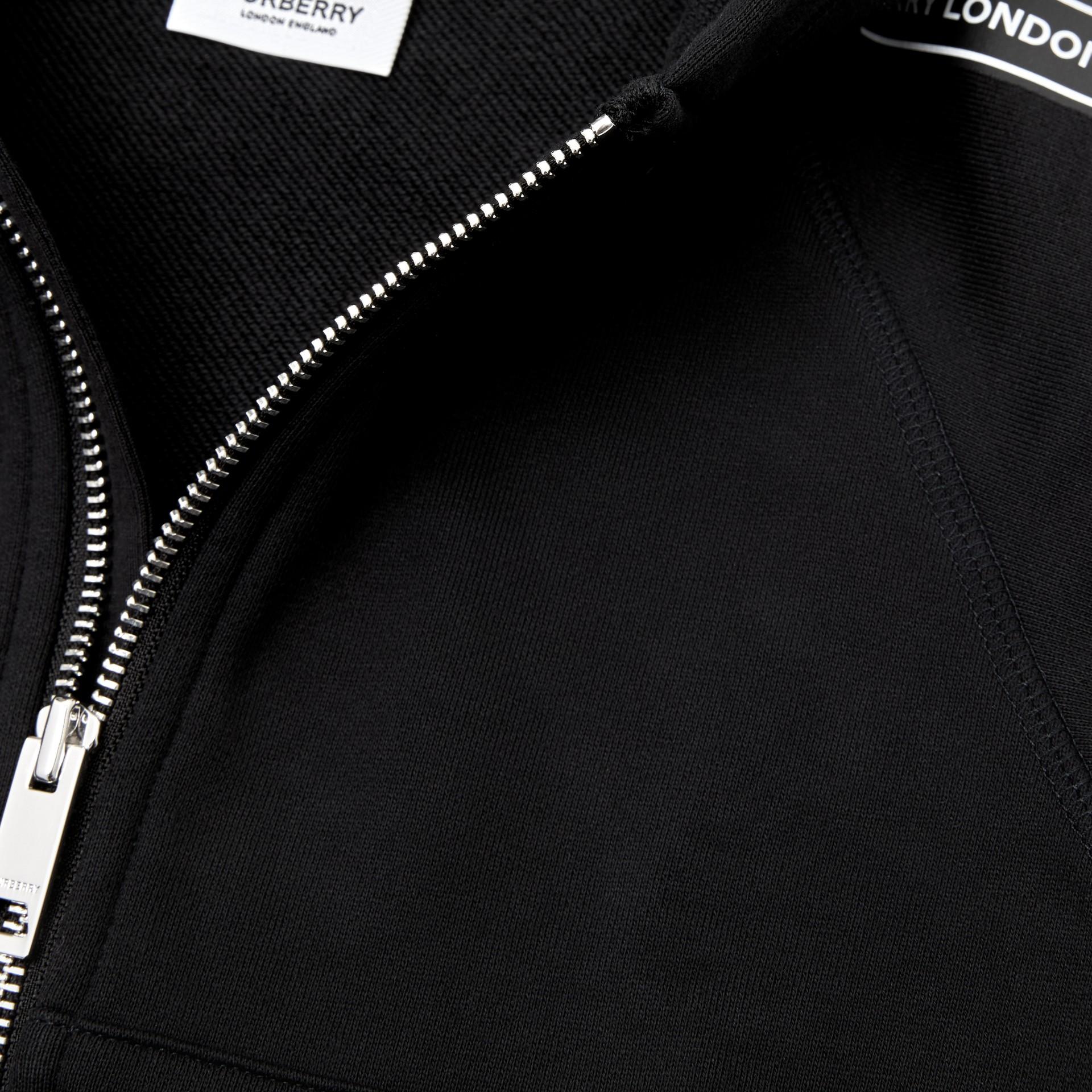 Logo Tape Cotton Hooded Top in Black - Children | Burberry Australia - gallery image 1