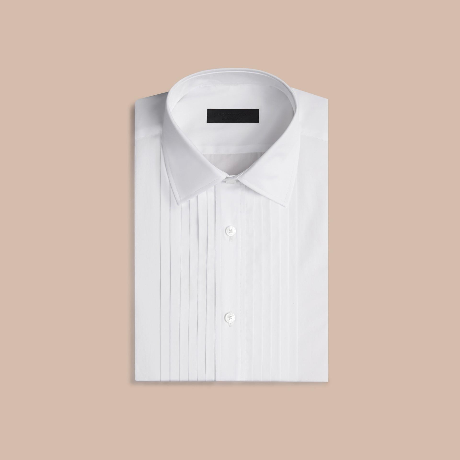 Branco ótico Camisa social de algodão com corte slim - galeria de imagens 4