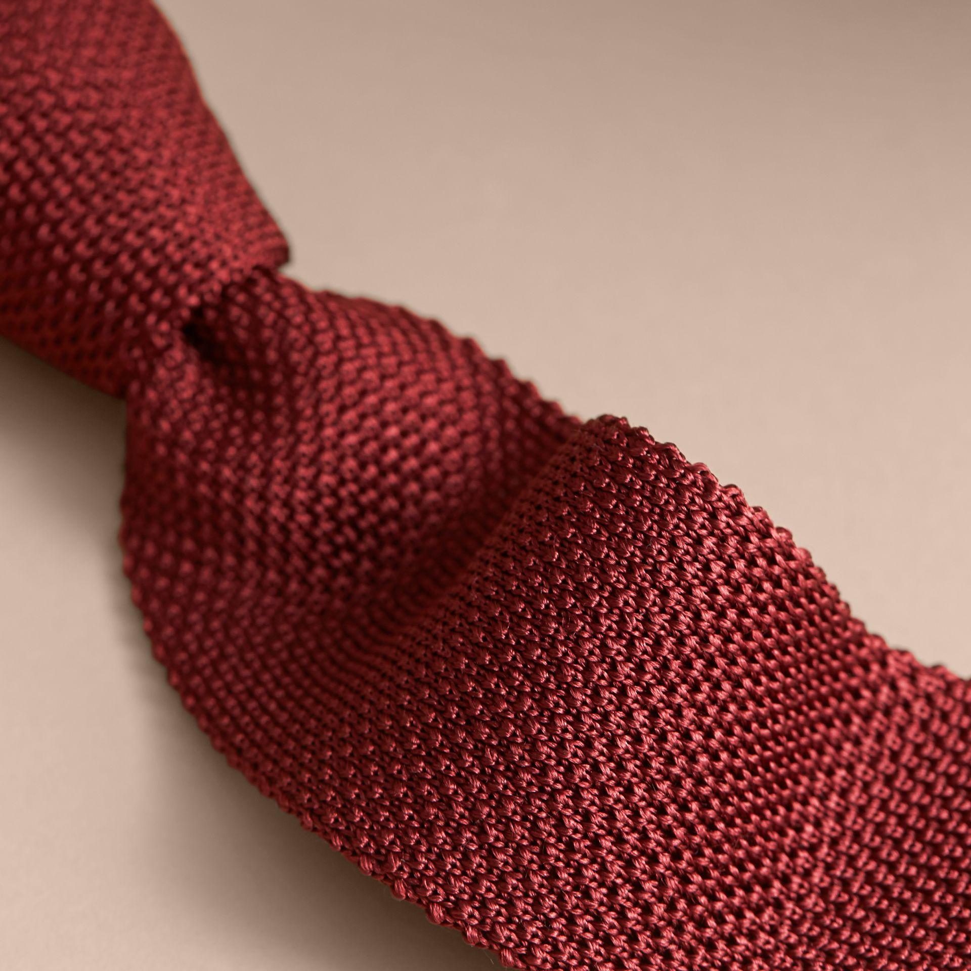 Slim Cut Knitted Silk Tie in Deep Red - gallery image 2
