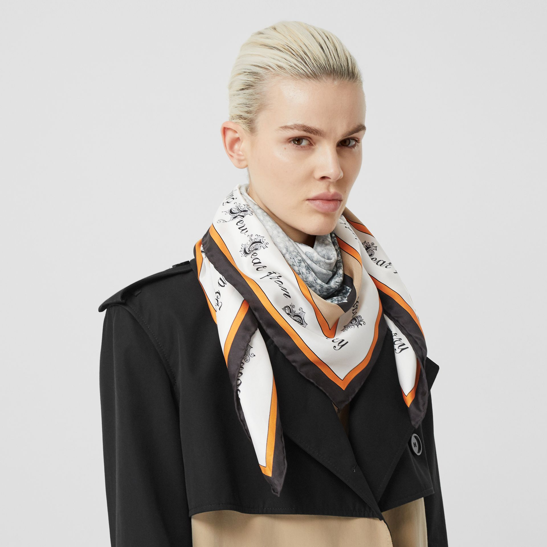 Christmas Print Silk Square Scarf in Bright Orange | Burberry - gallery image 2
