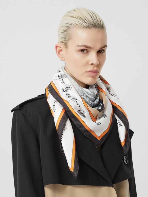 Christmas Print Silk Square Scarf in Bright Orange | Burberry - cell image 2