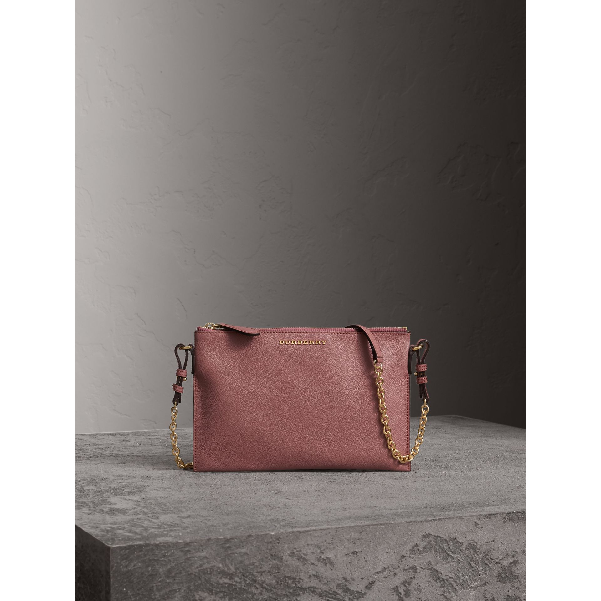 Leather Clutch Bag with Check Lining in Dusty Pink - Women | Burberry - gallery image 1