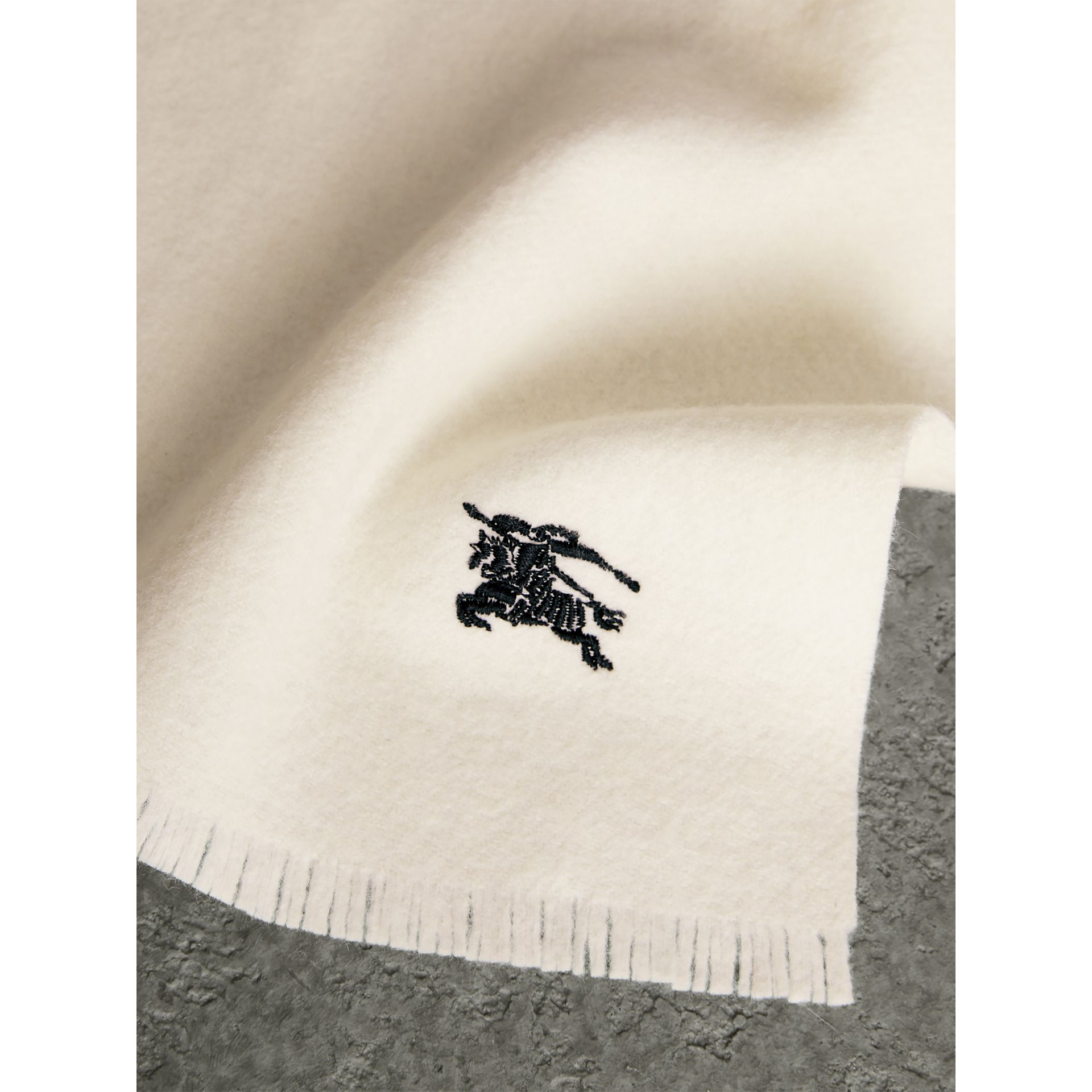 Embroidered Felted Wool Scarf in Ivory | Burberry - gallery image 1