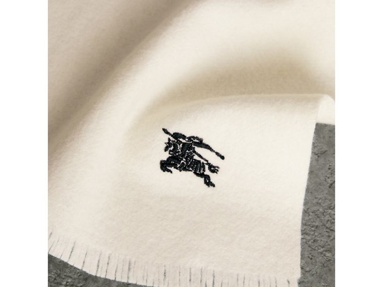 Embroidered Felted Wool Scarf in Ivory | Burberry - cell image 1