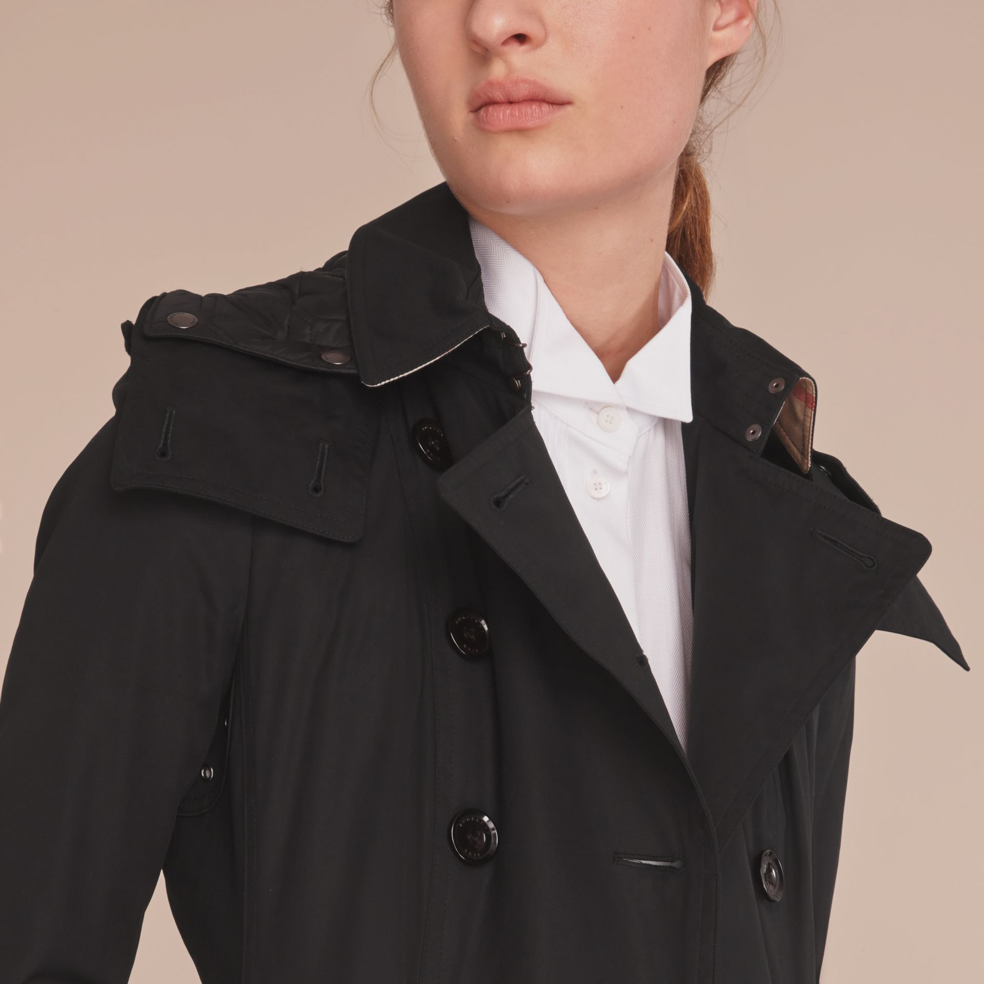 Hooded Trench Coat with Warmer in Black - gallery image 5