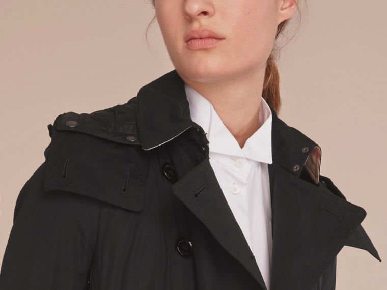 Hooded Trench Coat with Warmer in Black - cell image 4