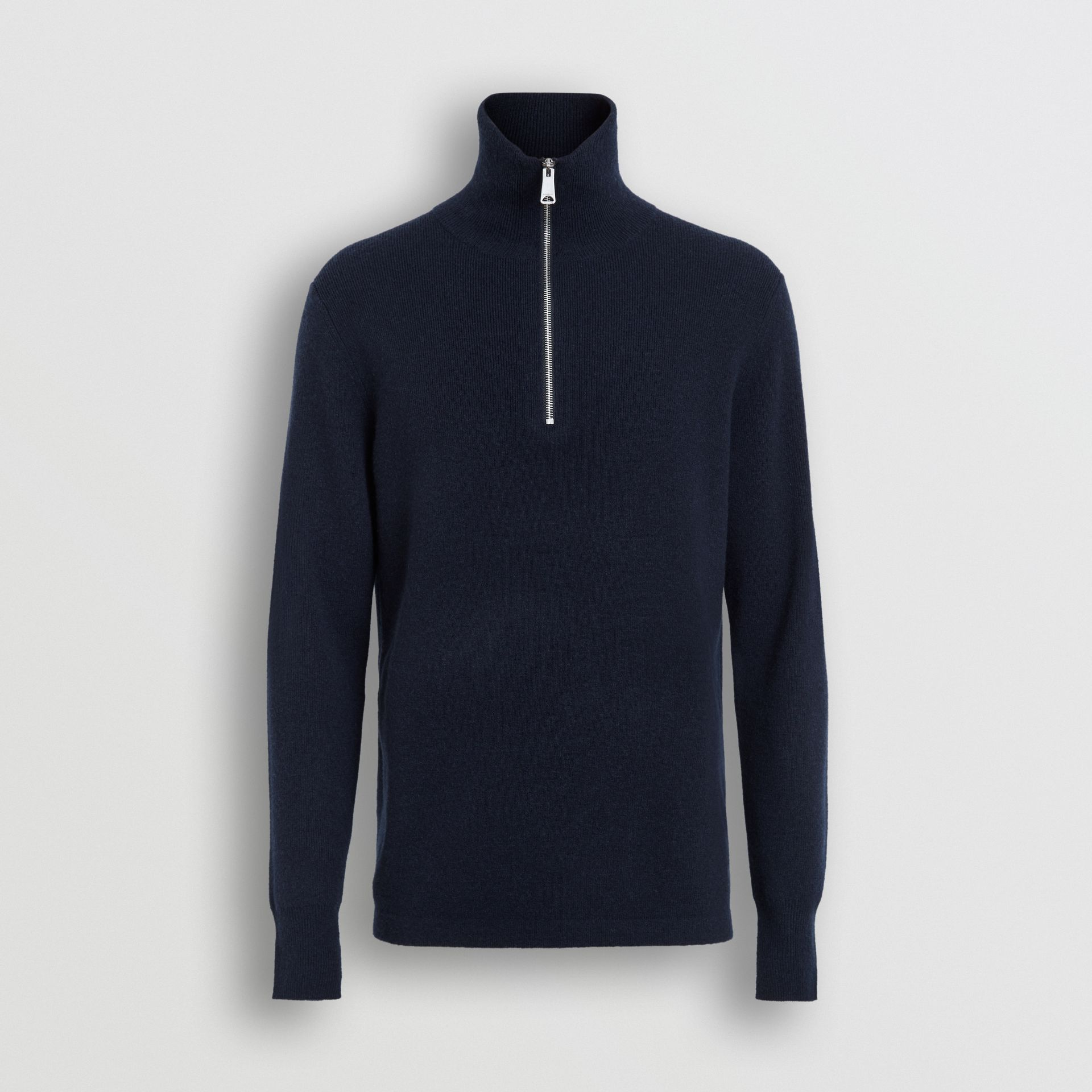 Rib Knit Cashmere Half-zip Sweater in Navy - Men | Burberry Singapore - gallery image 3
