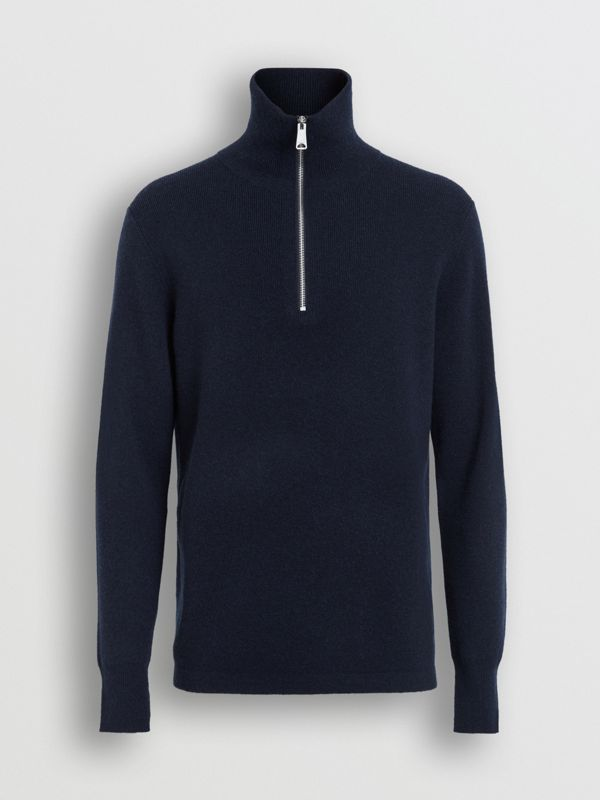 Rib Knit Cashmere Half-zip Sweater in Navy - Men | Burberry United Kingdom - cell image 3