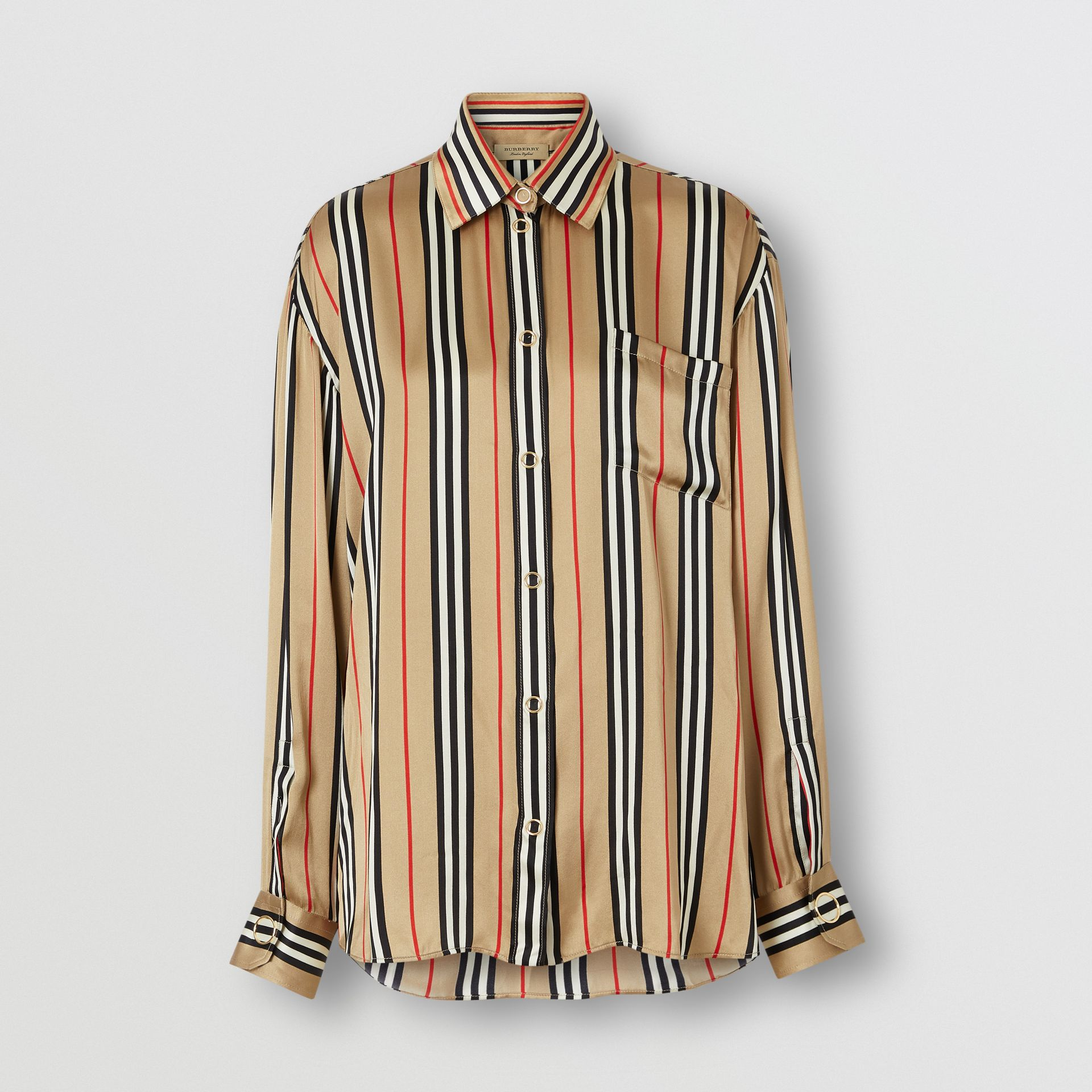 Icon Stripe Silk Shirt in Archive Beige - Women | Burberry - gallery image 3