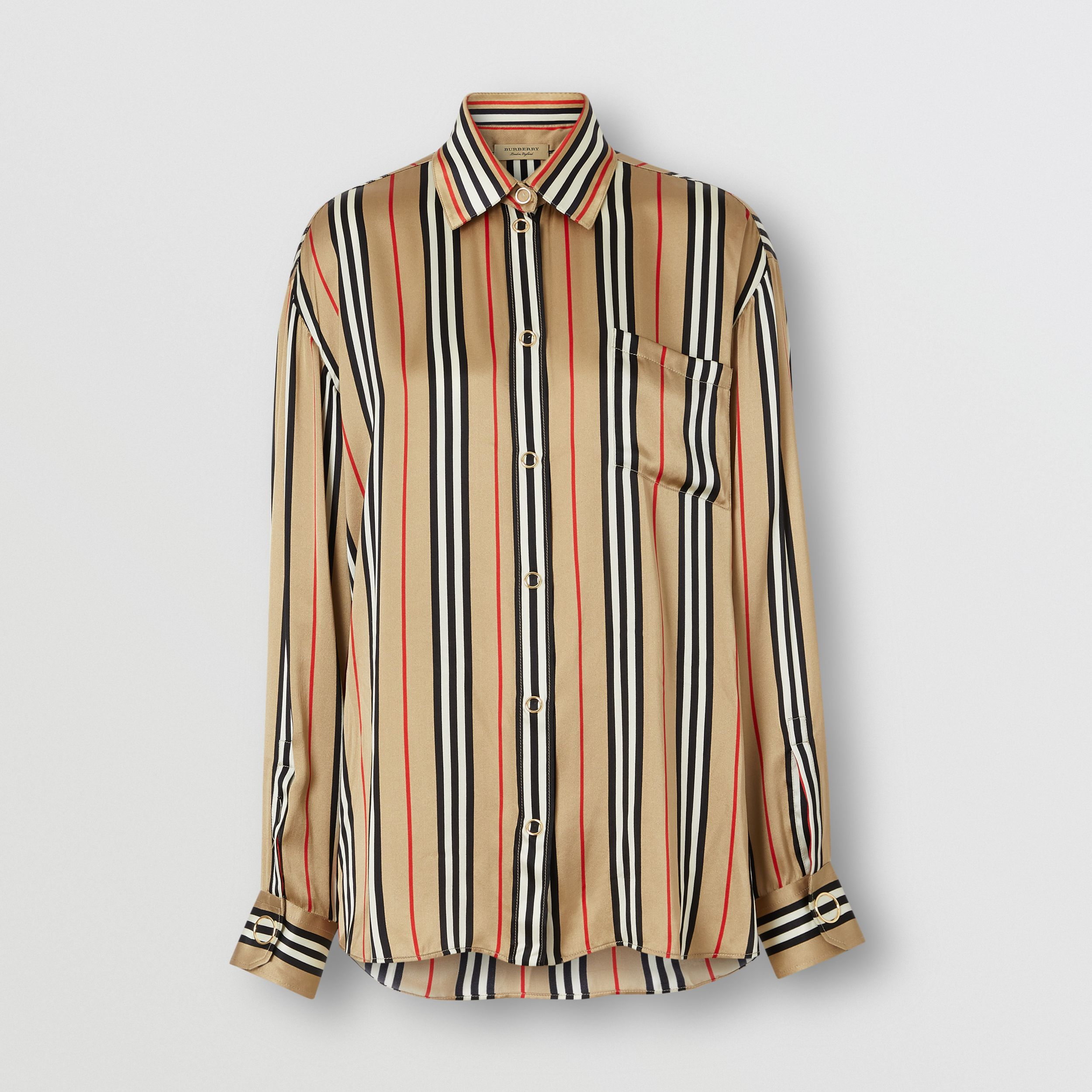 Icon Stripe Silk Shirt in Archive Beige - Women | Burberry - 4