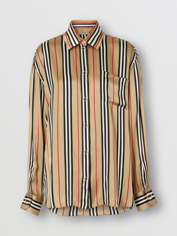 Icon Stripe Silk Shirt in Archive Beige - Women | Burberry United Kingdom - cell image 3