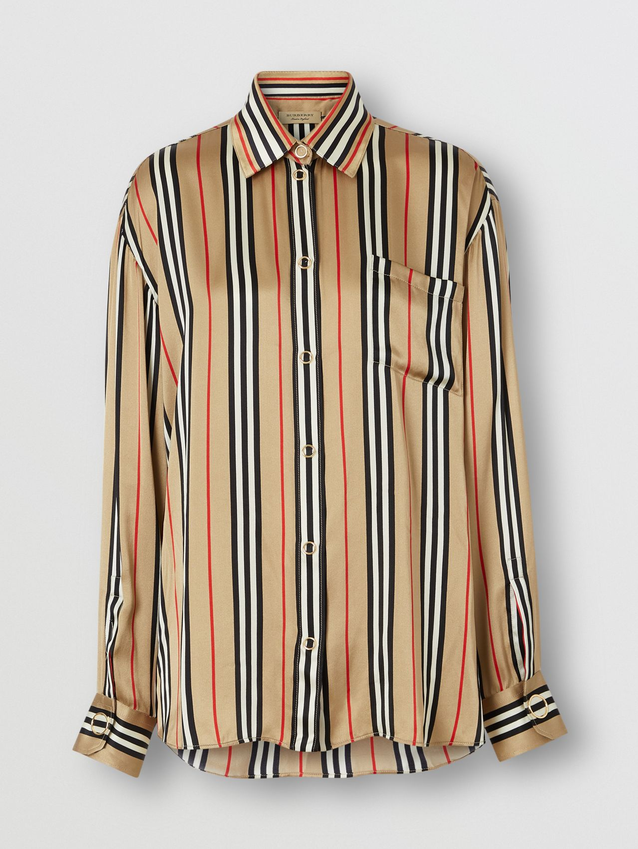Icon Stripe Silk Shirt in Archive Beige