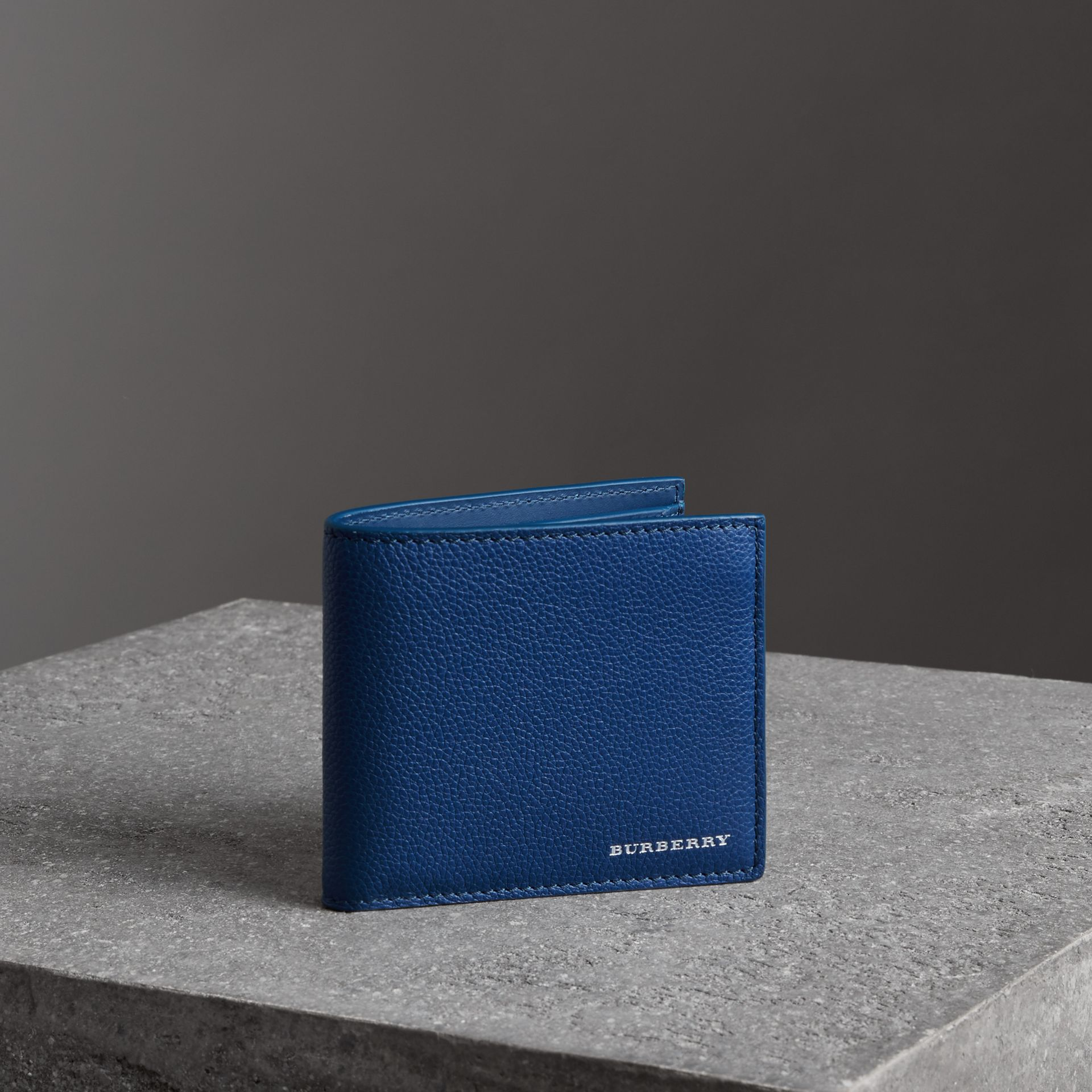 Grainy Leather International Bifold Coin Wallet in Bright Ultramarine - Men | Burberry Canada - gallery image 0