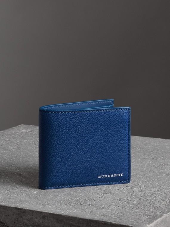 Carteira dobrável de couro granulado com porta-moedas - Internacional (Azul Marinho Intenso)
