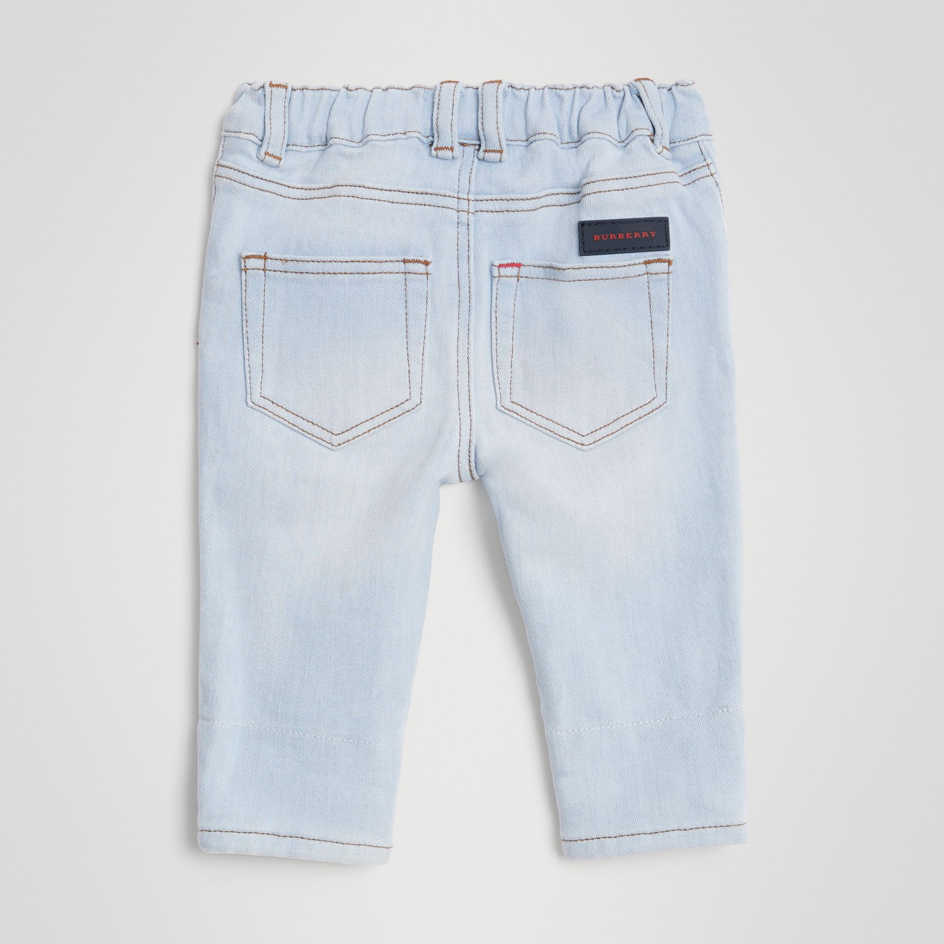 Relaxed Fit Stretch Denim Jeans in Light Blue - Children | Burberry United Kingdom - gallery image 4