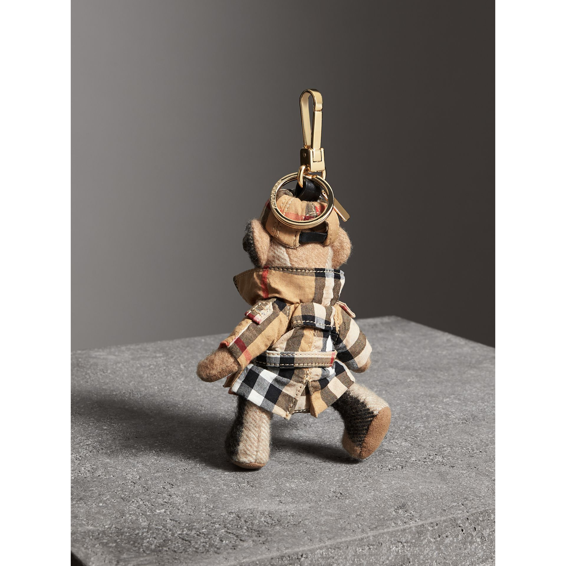 Thomas Bear Charm in Vintage Check Trench Coat in Camel | Burberry Canada - gallery image 1