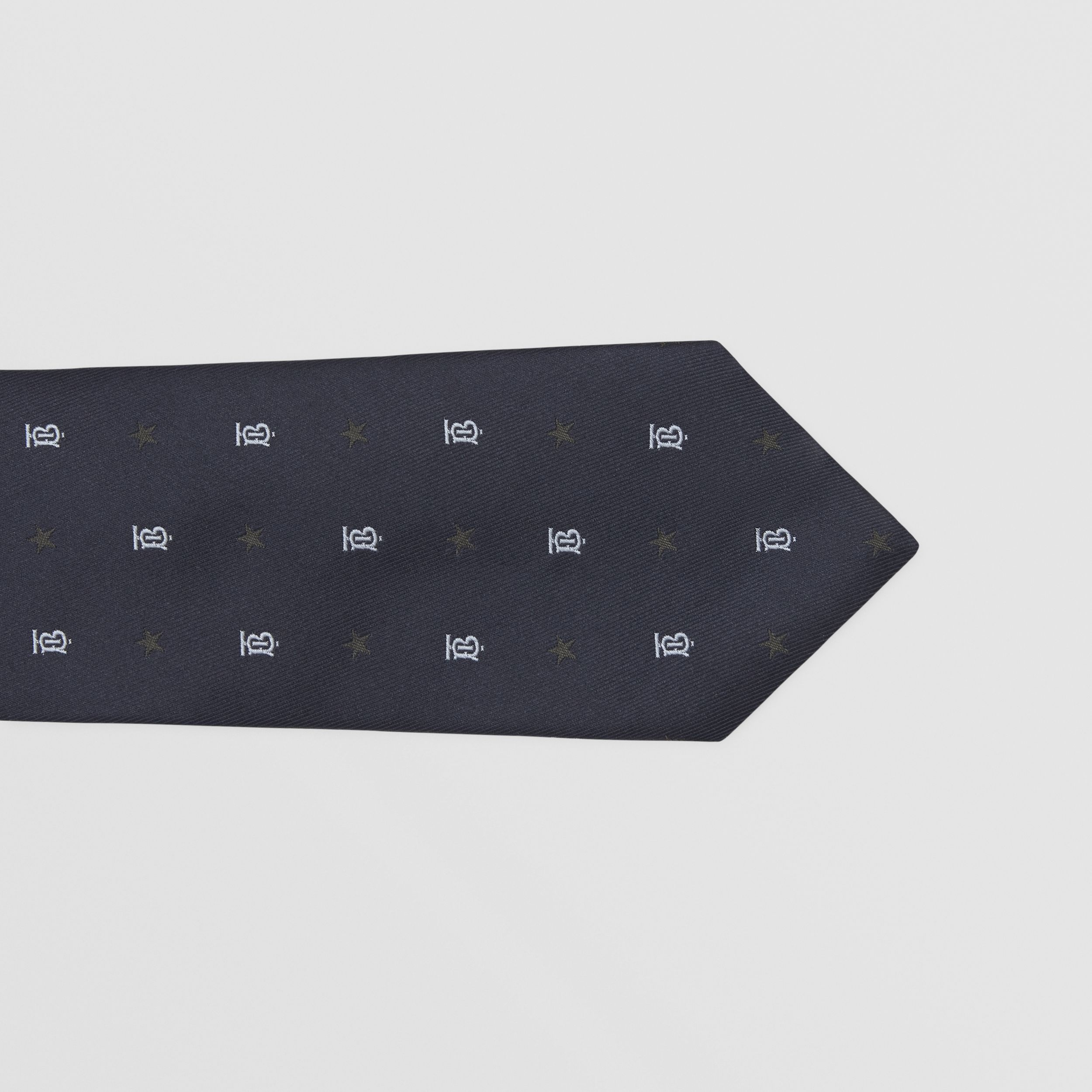 Classic Cut Star and Monogram Motif Silk Tie in Dark Navy - Men | Burberry - 2