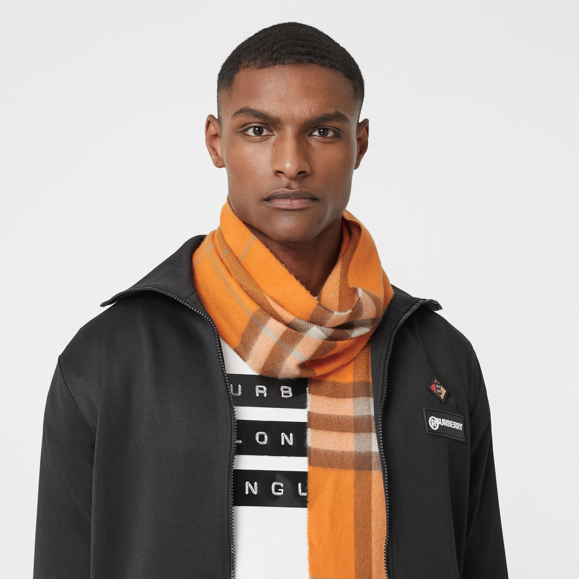 The Classic Check Cashmere Scarf in Orange | Burberry - gallery image 3