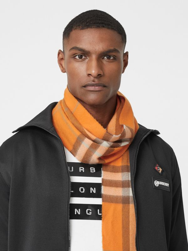 The Classic Check Cashmere Scarf in Orange | Burberry - cell image 3