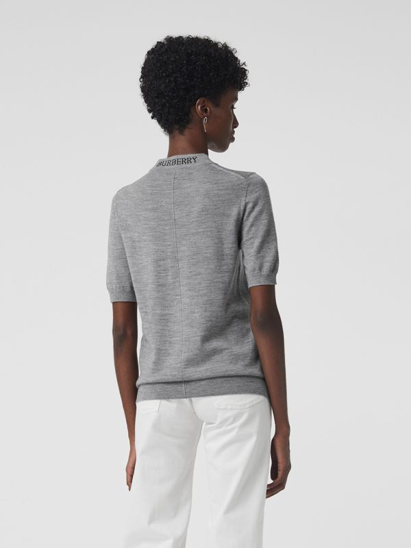 Crew Neck Merino Wool Sweater in Grey Melange - Women | Burberry Hong Kong - cell image 2