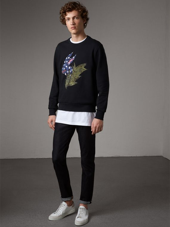 Beasts Motif Cotton Sweatshirt in Black - Women | Burberry Singapore - cell image 2