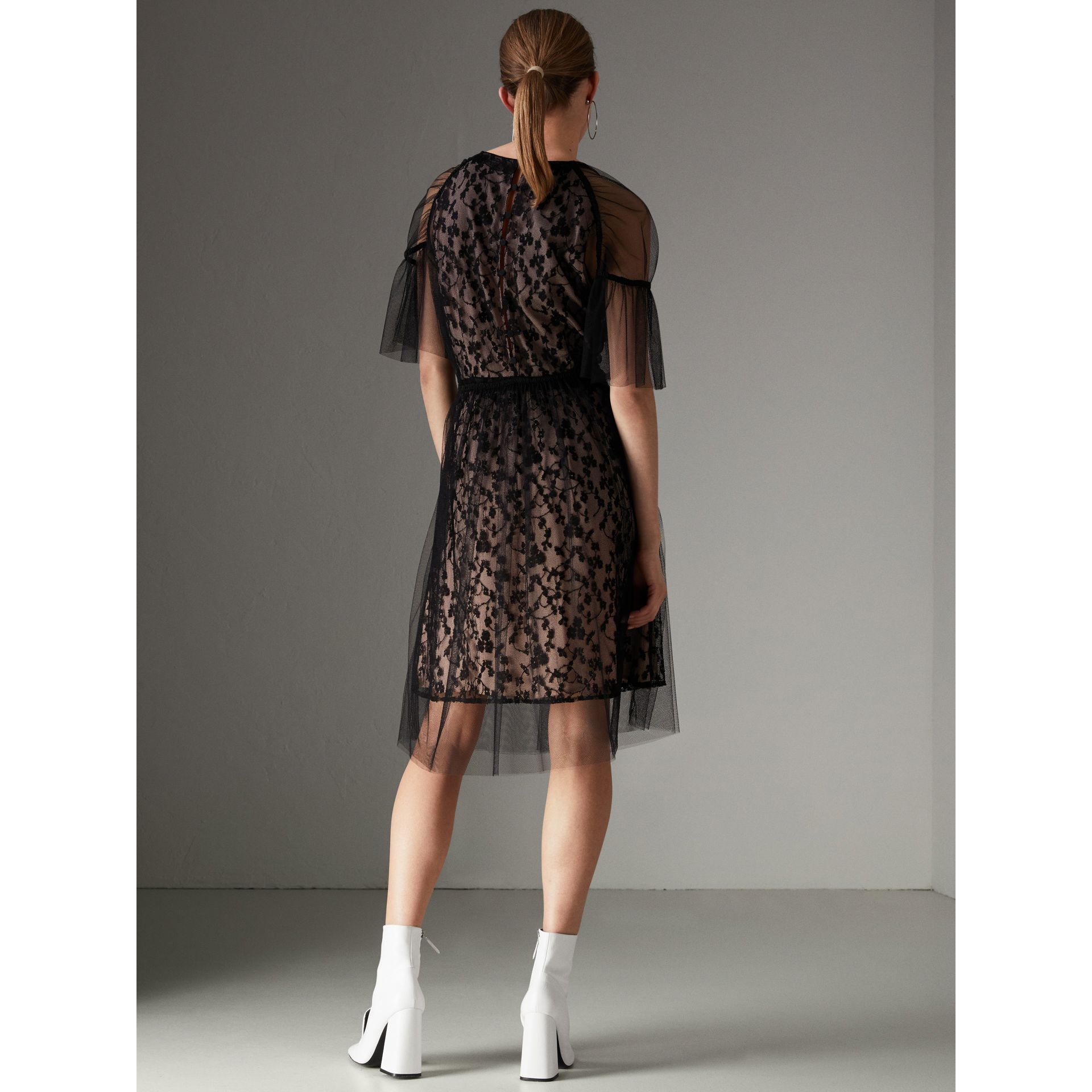Ruffled Hem Embroidered Tulle Dress in Black - Women | Burberry - gallery image 2