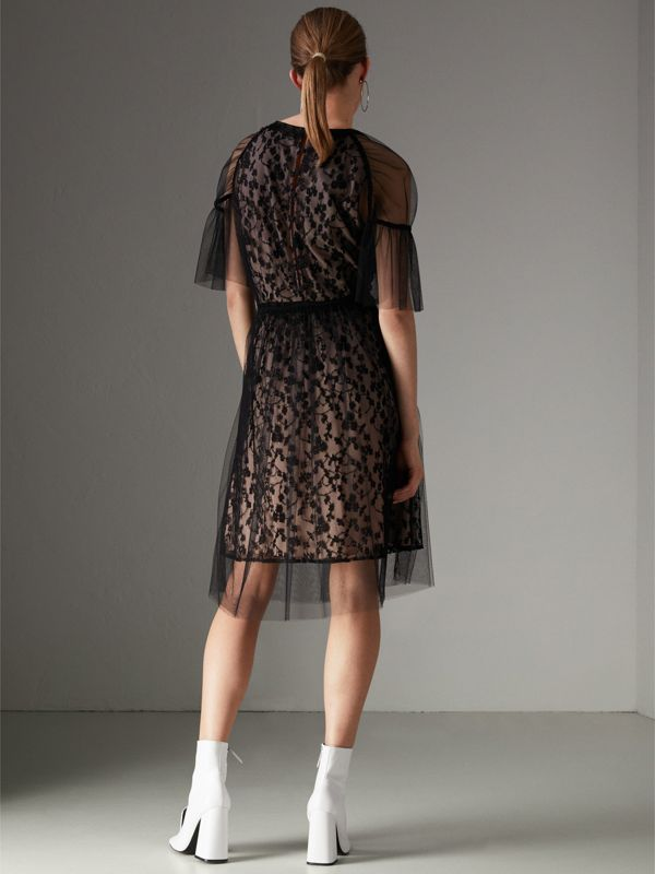 Ruffled Hem Embroidered Tulle Dress in Black - Women | Burberry - cell image 2