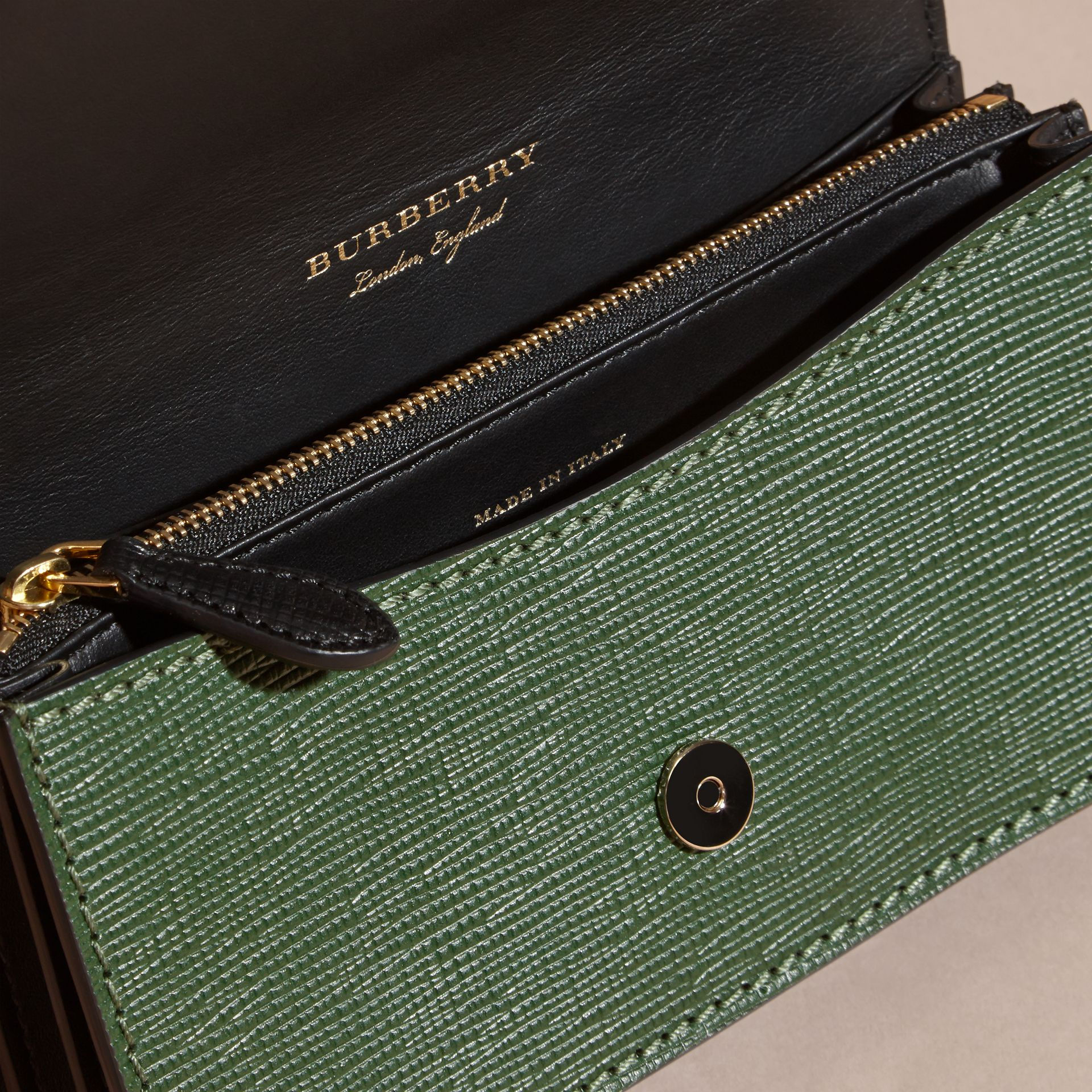 The Small Buckle Bag in House Check and Leather in Kelly Green/kelly Green - Women | Burberry Canada - gallery image 5