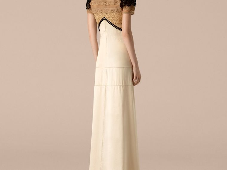 Light nude Floor-length Silk Satin Dress - cell image 1
