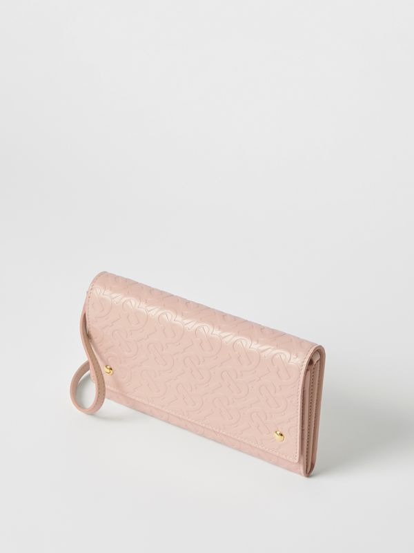 Monogram Leather Wallet with Detachable Strap in Rose Beige - Women | Burberry - cell image 2