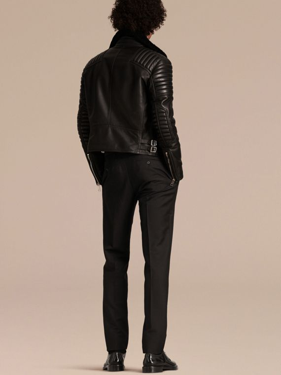 Black Shearling-lined Leather Biker Jacket - cell image 2