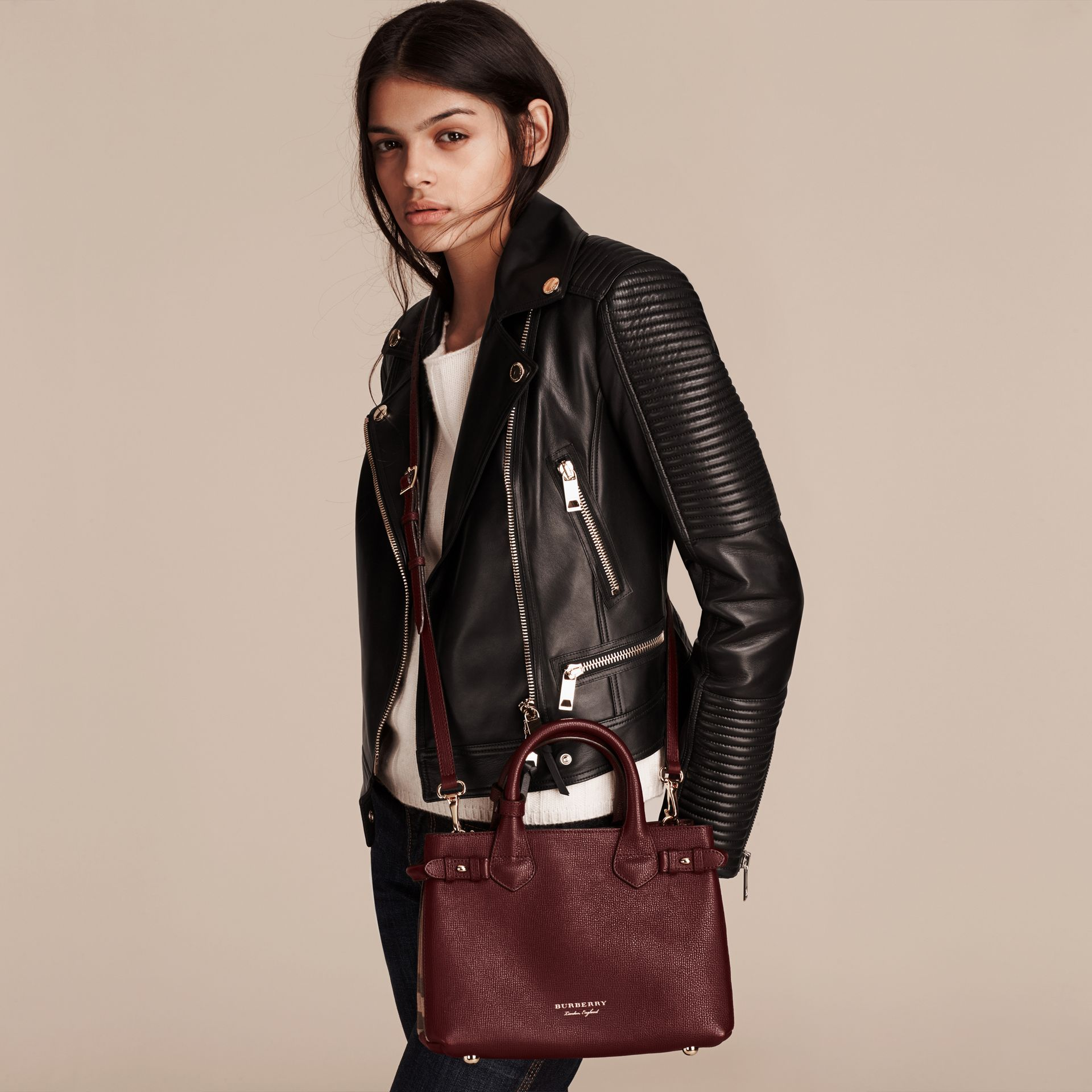 The Small Banner in Leather and House Check in Mahogany Red - Women | Burberry - gallery image 3