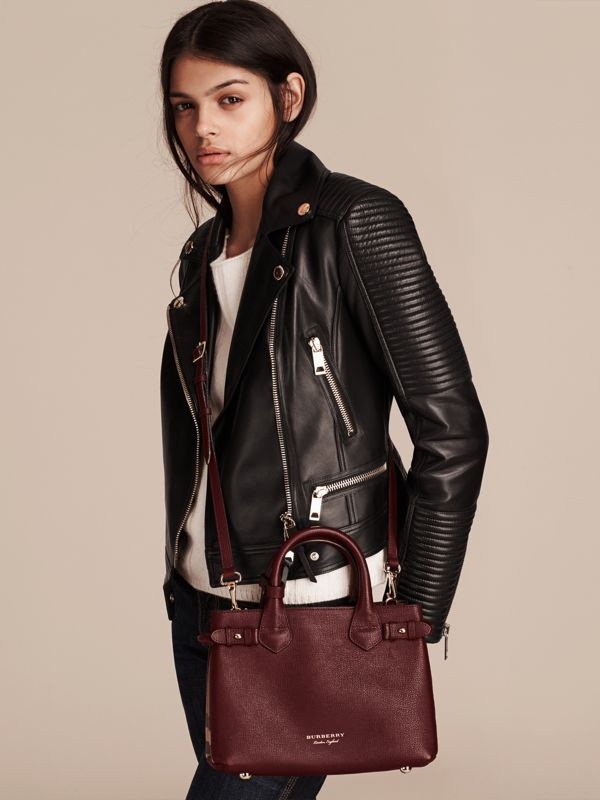 The Small Banner in Leather and House Check in Mahogany Red - Women | Burberry - cell image 2