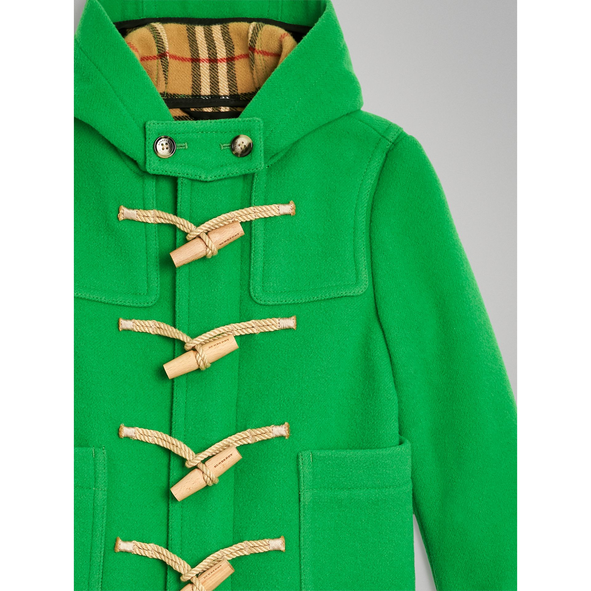 Double-faced Wool Duffle Coat in Bright Grass Green | Burberry Australia - gallery image 4
