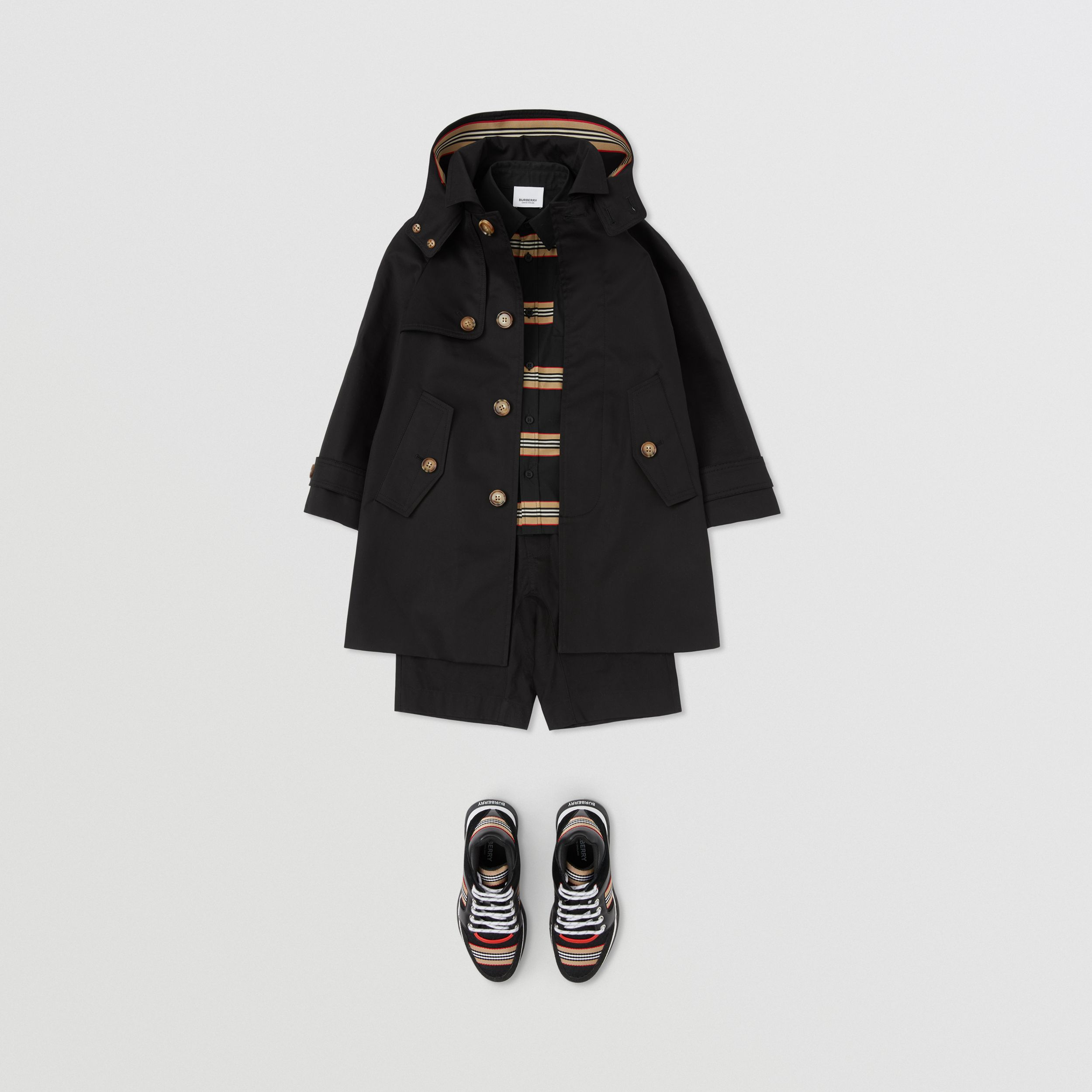 Detachable Hood Icon Stripe Trim Cotton Car Coat in Black | Burberry - 3