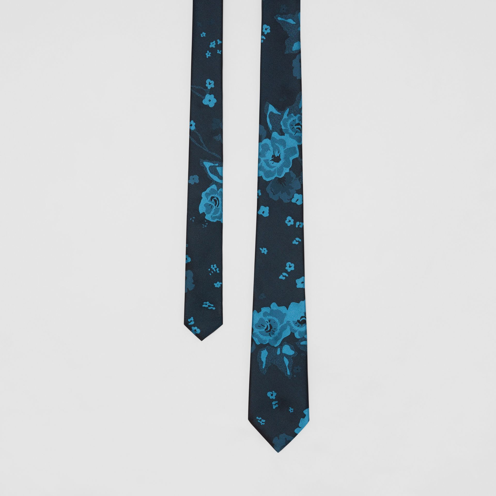 Slim Cut Floral Silk Tie in Dark Cyan - Men | Burberry - gallery image 0
