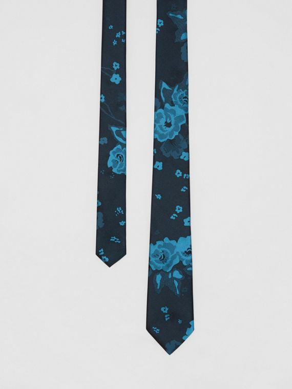 Slim Cut Floral Silk Tie in Dark Cyan