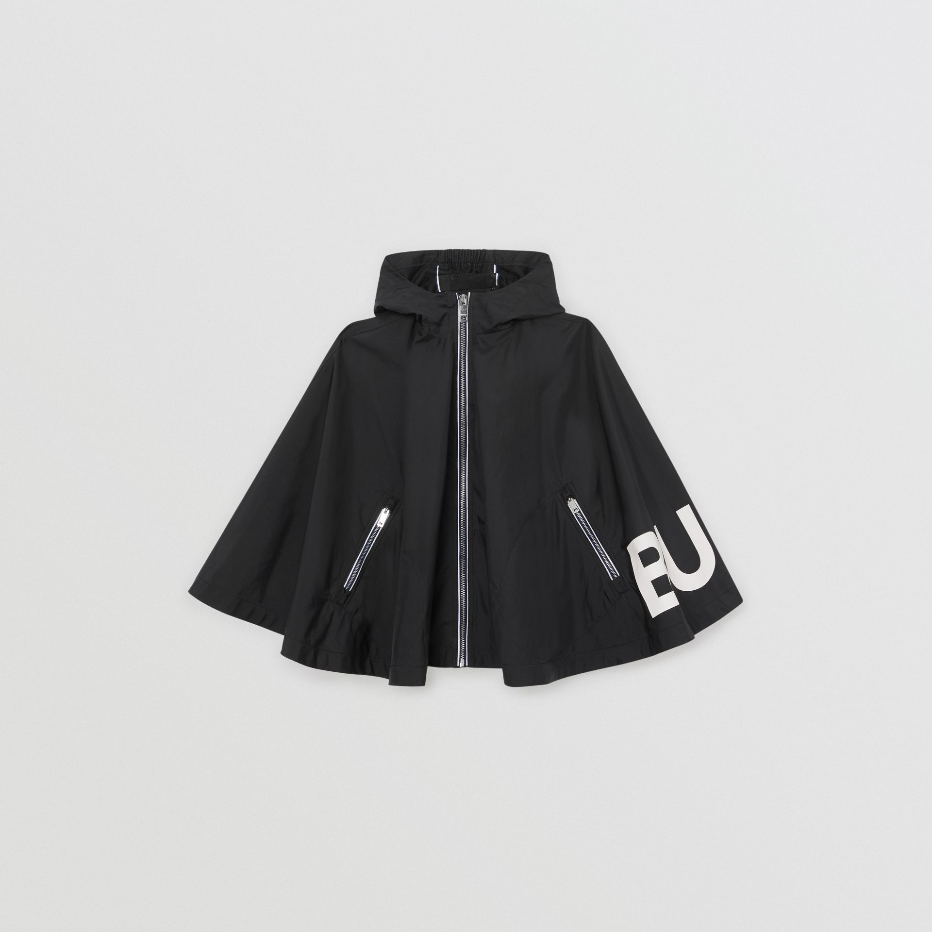 Logo Print Hooded Cape in Black | Burberry - gallery image 0
