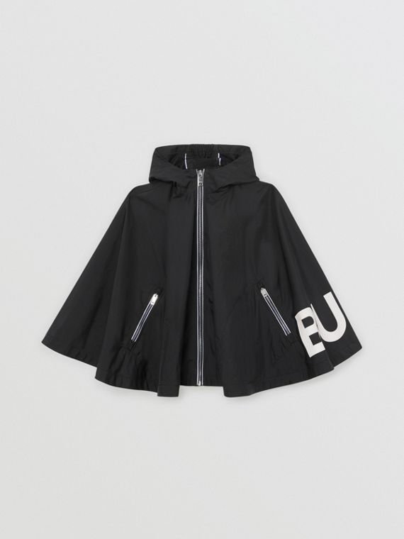 Logo Print Hooded Cape in Black