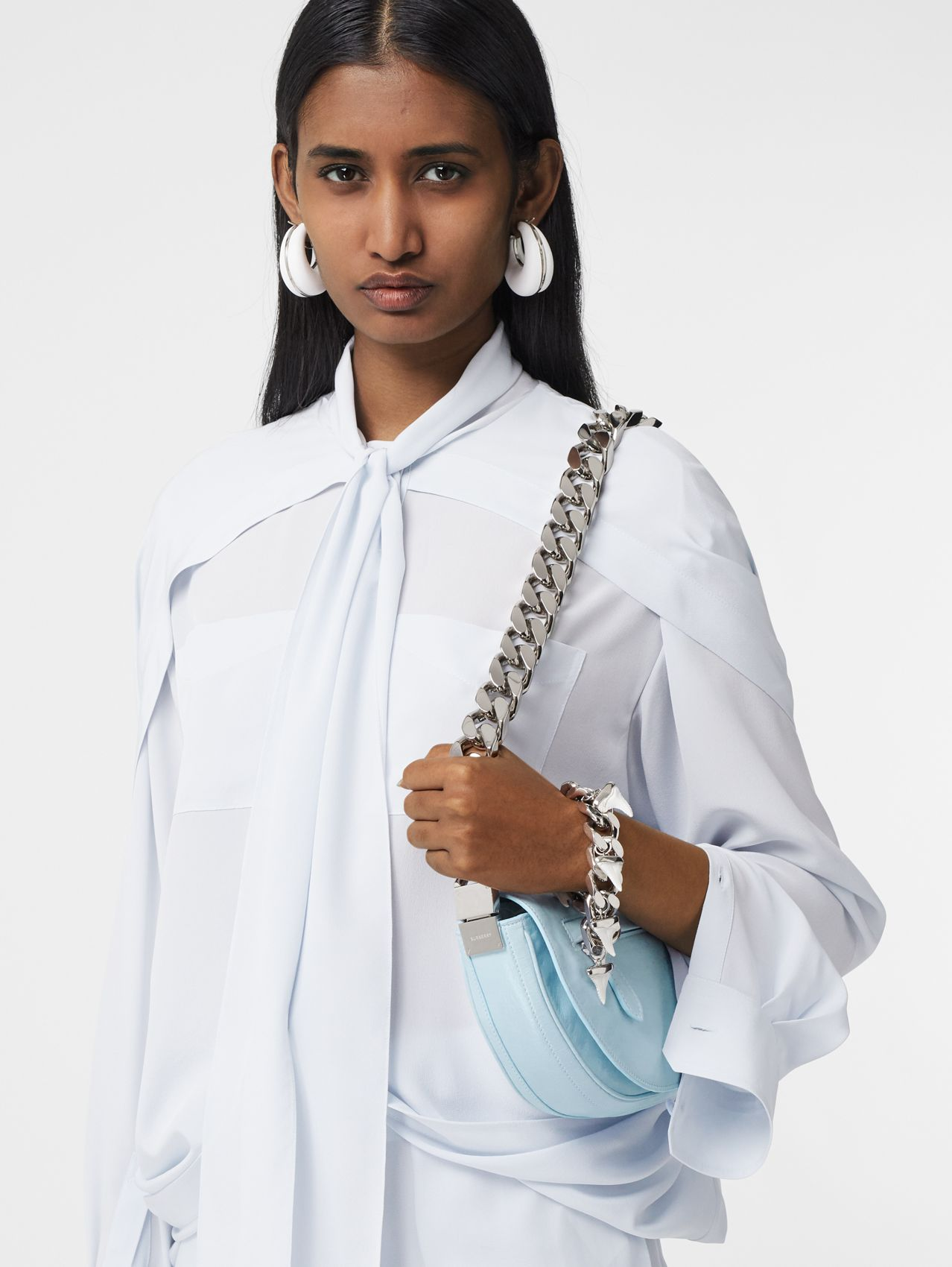 Small Lambskin Olympia Bag in Pale Blue/cool Blue