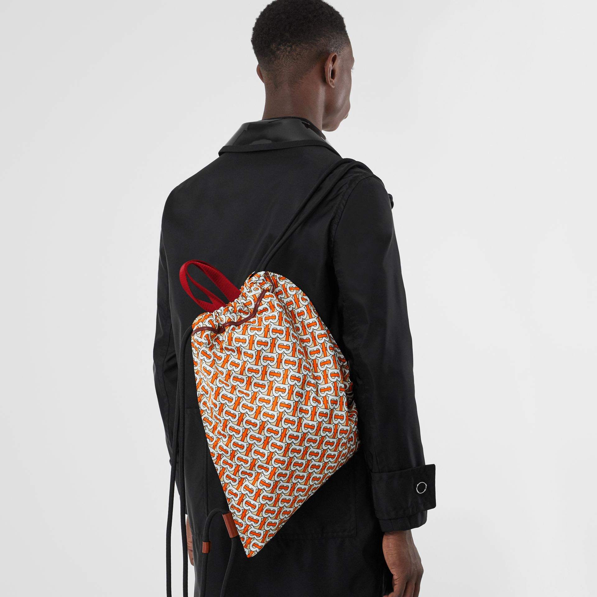 Monogram Print Nylon Drawcord Backpack in Vermilion - Men | Burberry Canada - gallery image 2