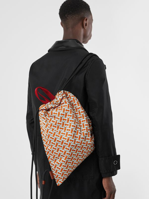 Monogram Print Nylon Drawcord Backpack in Vermilion - Men | Burberry Canada - cell image 2