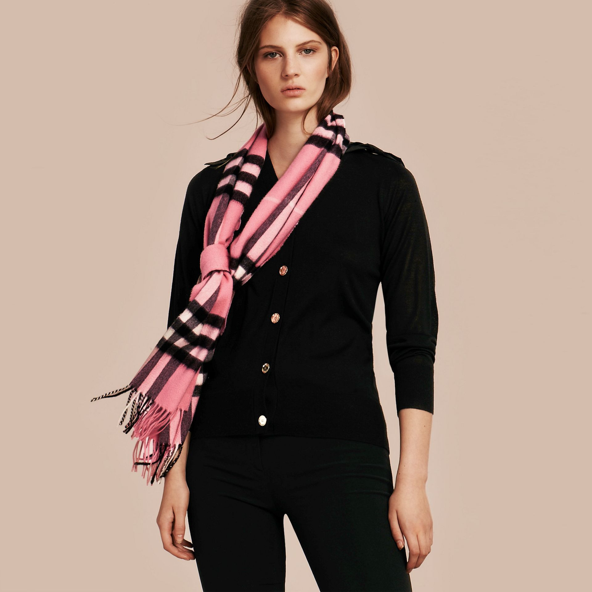 The Classic Cashmere Scarf in Check  Rose Pink - gallery image 3