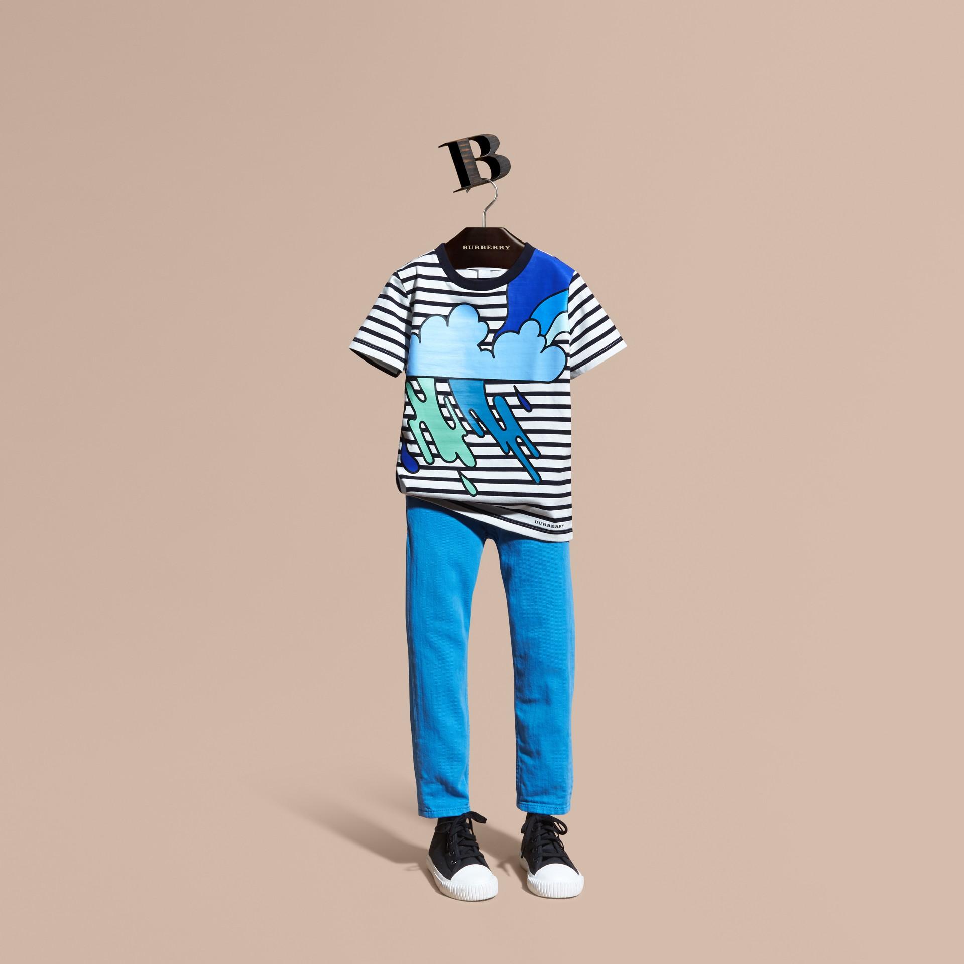 Striped Storm Cloud Print Cotton T-shirt - gallery image 1