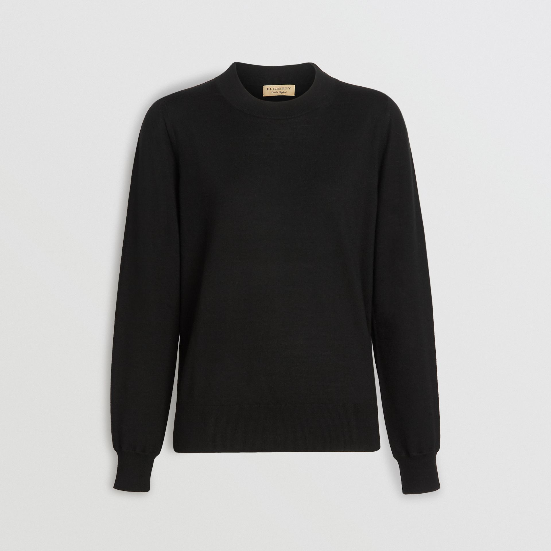 Merino Wool Crew Neck Sweater in Black - Women | Burberry - gallery image 3