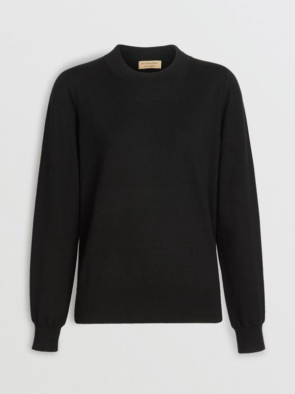 Merino Wool Crew Neck Sweater in Black - Women | Burberry - cell image 3
